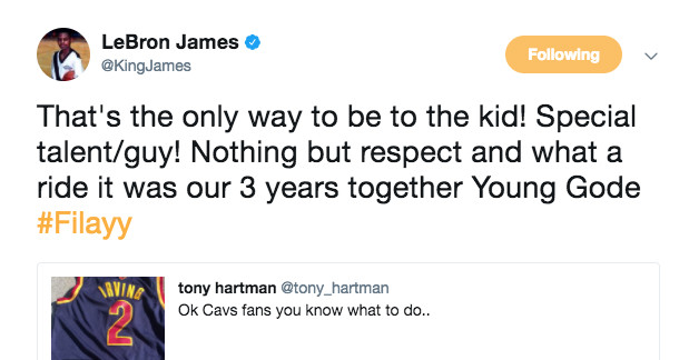 LeBron James tweets he has 'nothing but respect' for Kyrie Irving