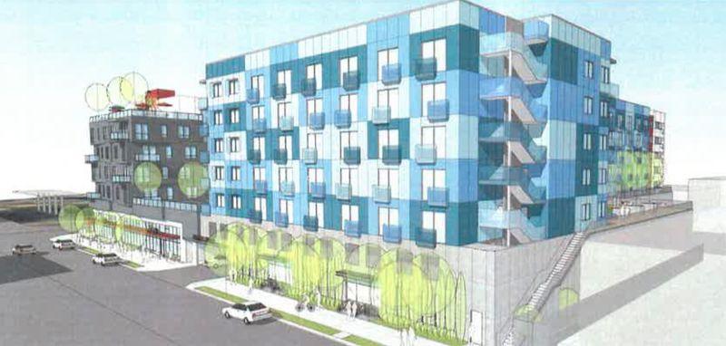 Rendering of blue side of building