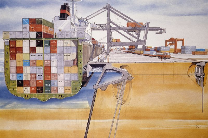 An illustration shows how a container ship is packed full