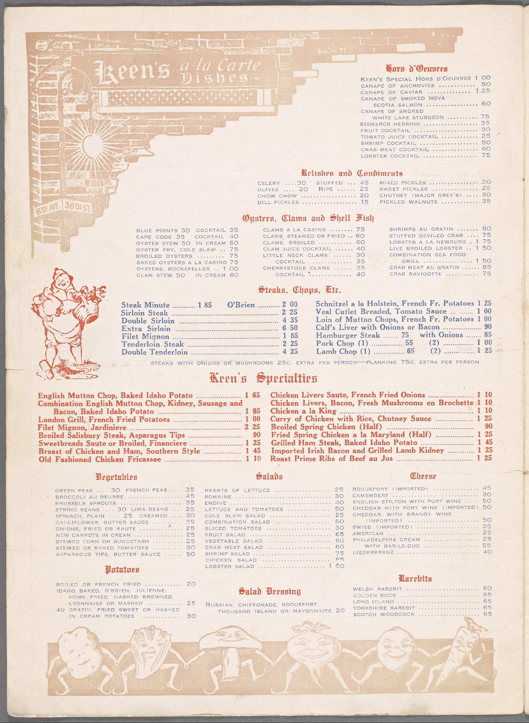 Keens Restaurant Menu