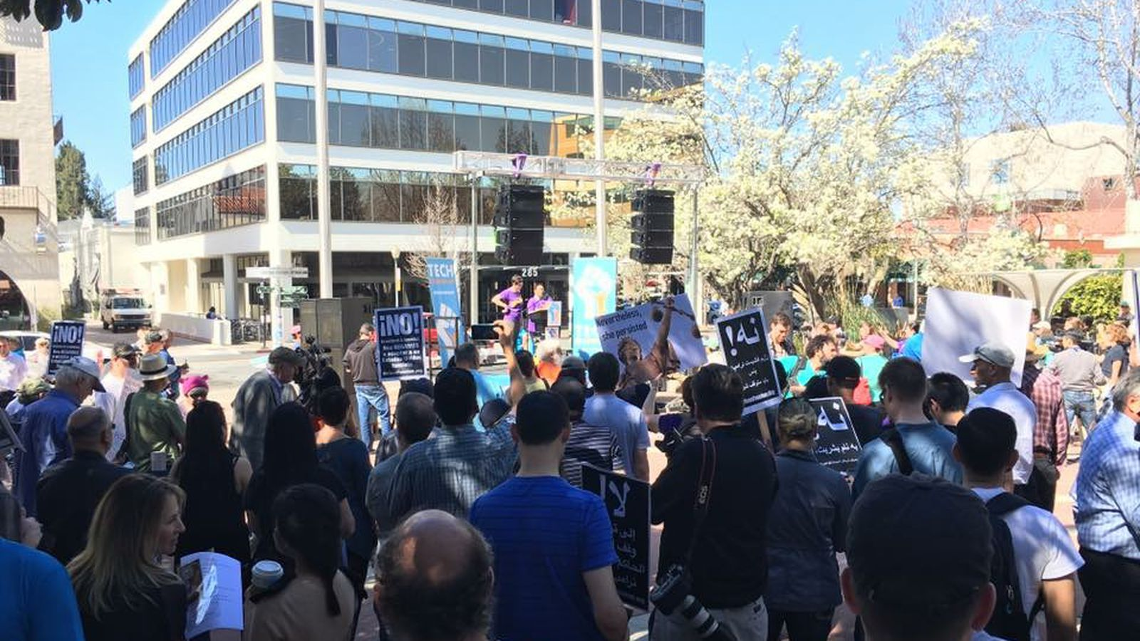 Tech Employees Rallied Tuesday to Urge their Employers to Get Woke