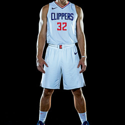 """Front view of Blake Griffin wearing the Clippers' new white """"Association edition"""" jersey."""
