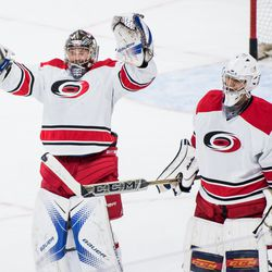 Callum Booth and Eetu Makiniemi celebrate the win by Team White. July 1, 2017. Carolina Hurricanes Summerfest and Development Camp, PNC Arena, Raleigh, NC. Copyright © 2017 Jamie Kellner. All Rights Reserved.