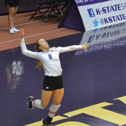 MANHATTAN - K-State junior Brooke Smith performs a jump serve during a match against Arkansas on Aug. 31, 2017.