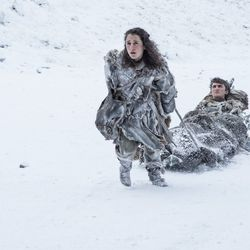 Without Hodor around, Meera has taken the role of dragging Bran across the land.