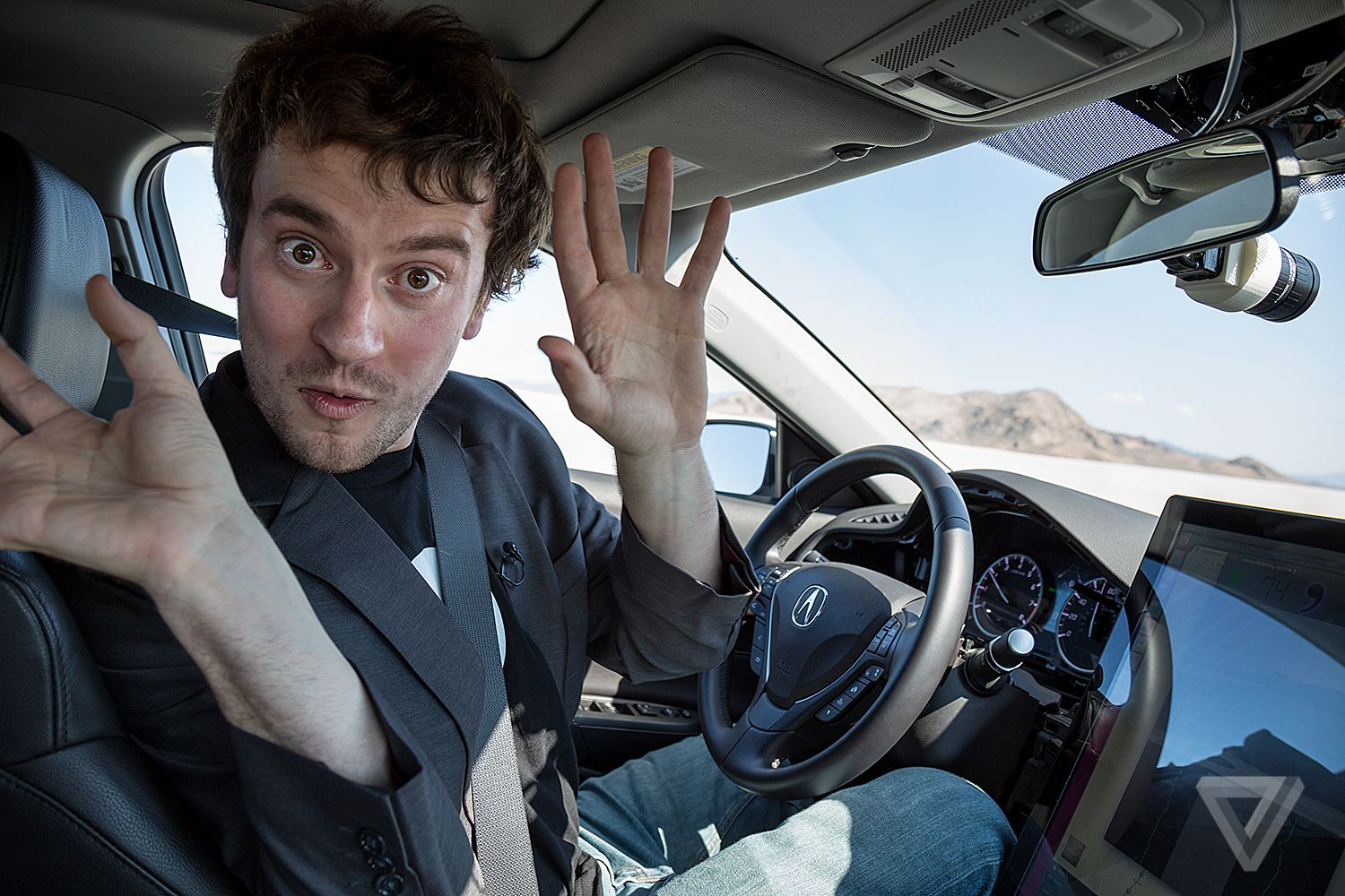 on the road with george hotz s 1 000 self driving car kit the verge. Black Bedroom Furniture Sets. Home Design Ideas