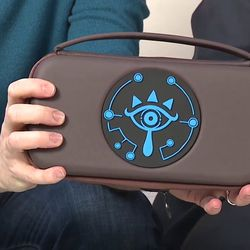 The back of the carrying case bears the Sheikah Eye symbol.