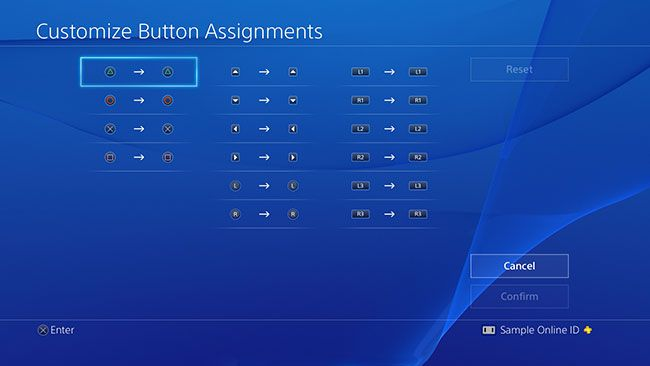 PS4 customize button assignments