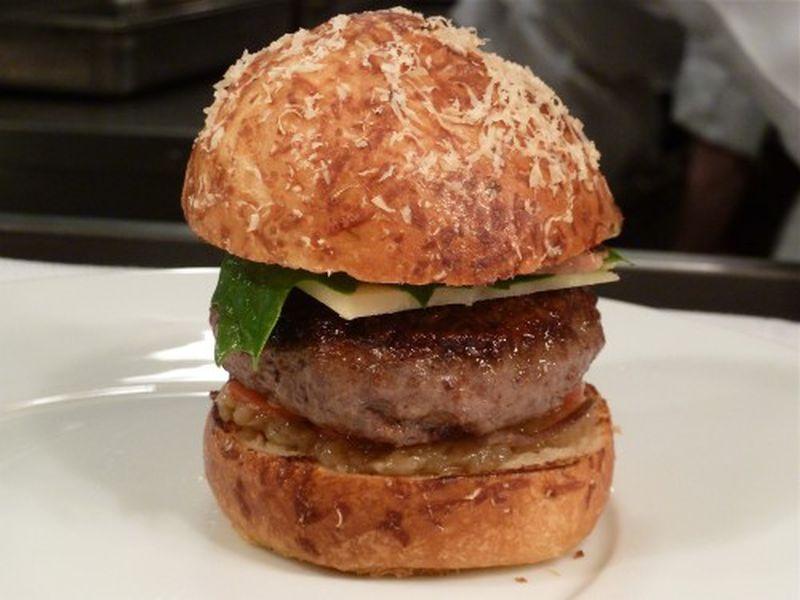 SHO Shaun Hergatt's Lamb Bacon and Ramp Burger - Eater NY