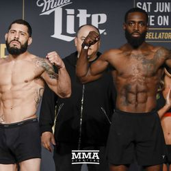 Anthony Giacchina and Jerome Mickle square off at Bellator NYC weigh-ins.