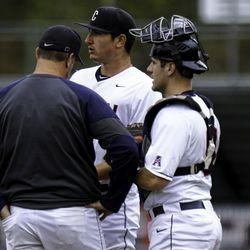 UConn pitching coach Josh McDonald (L), Ronnie Rossomondo (C), Alex LeFevre (R)<br>