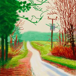 """<a href=""""http://lucasmuseum.org/works/gallery/assetcat_id/1384"""">David Hockney'</a>s The Arrival of Spring in Woldgate, East Yorkshire in 2011 - 23 February"""
