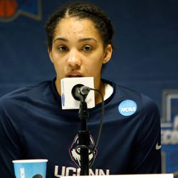 UConn's Gabby Williams (15) during the postgame press conference.