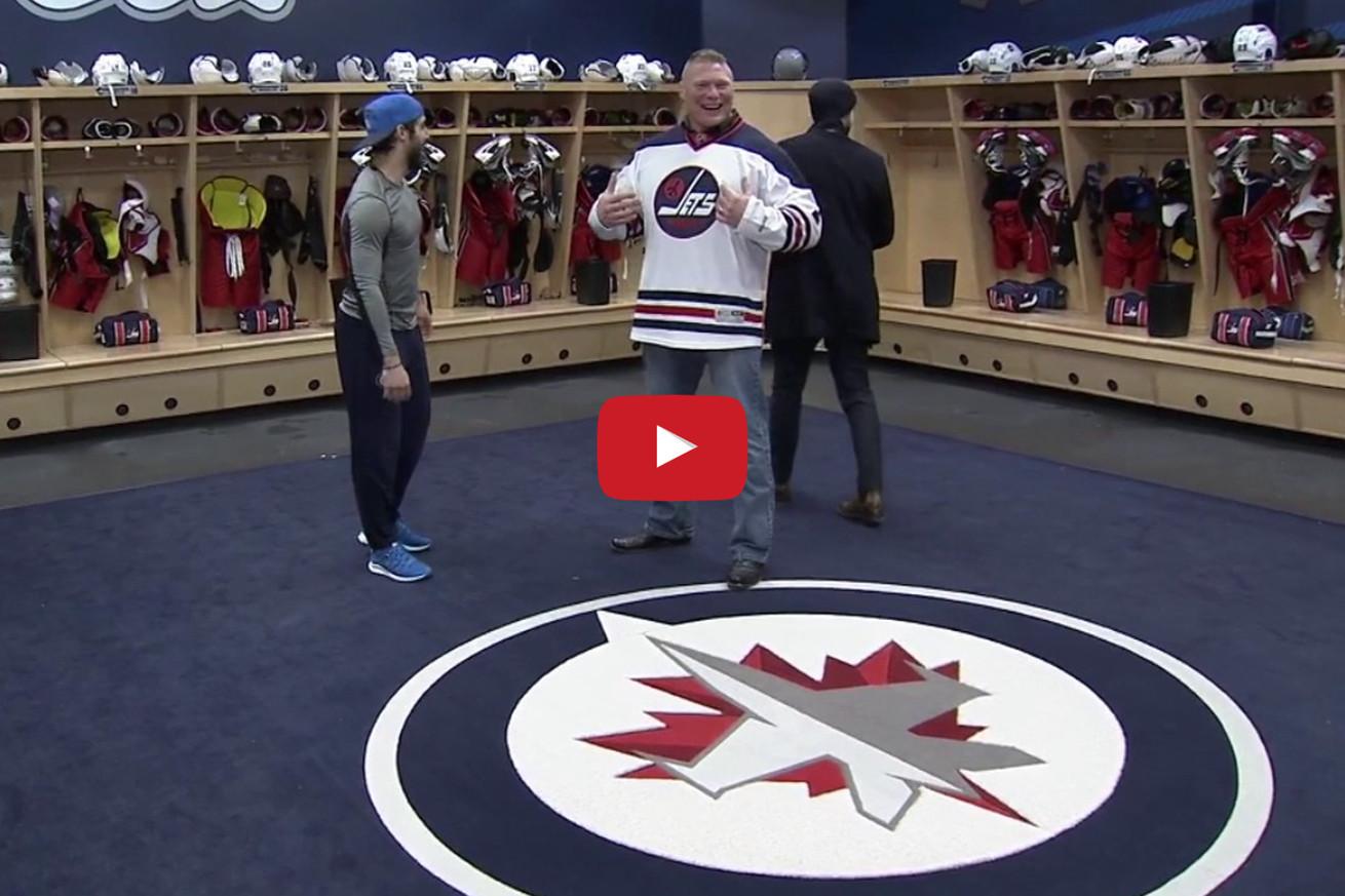 community news, Video: Brock Lesnar crashes locker room, clumsily curses hockey team for eternity