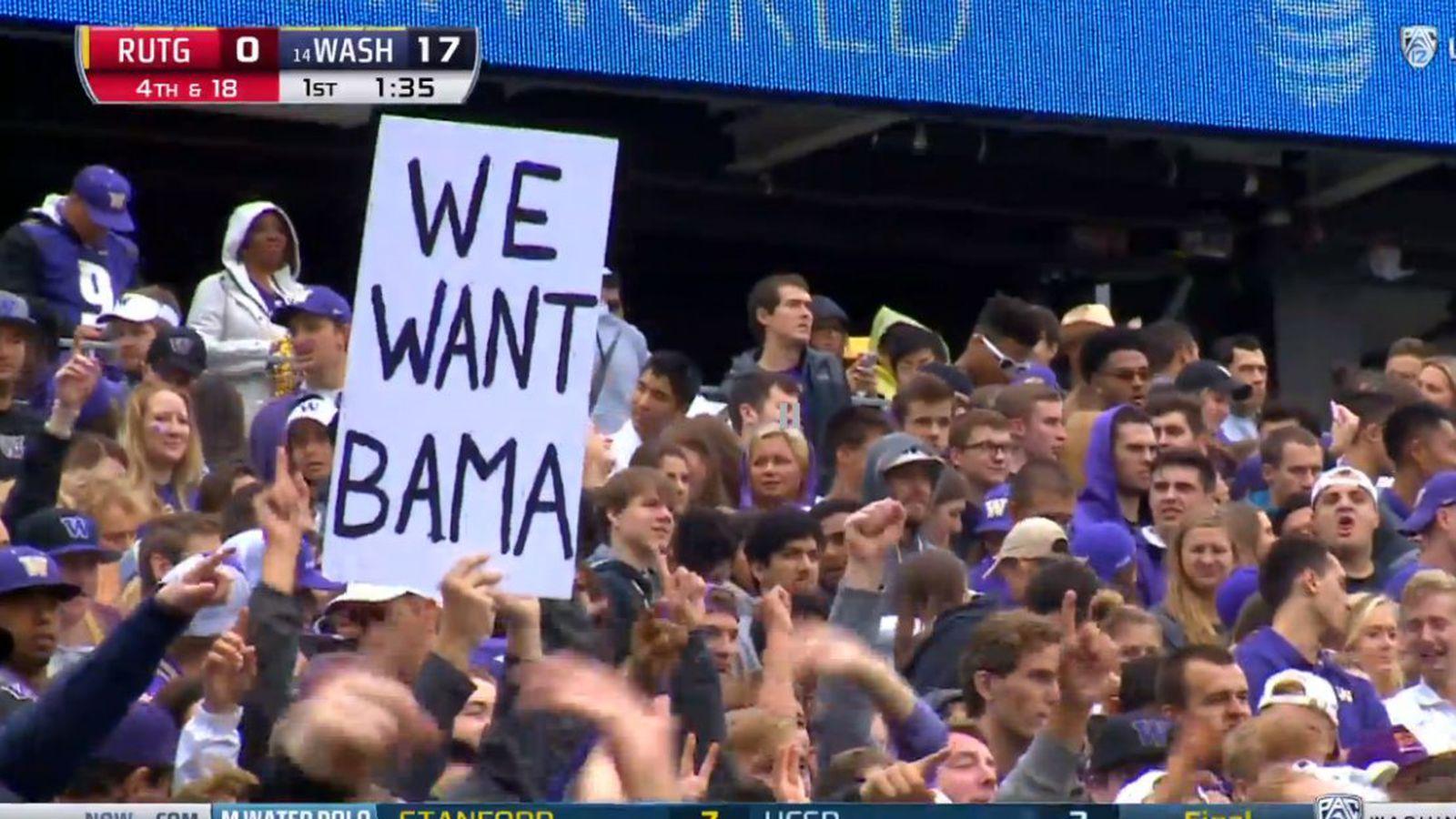 Eager Washington Huskies Fan Has A We Want Bama Sign