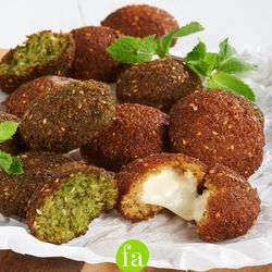 Pictured: Falafel varieties, including the mozzarella-stuffed option