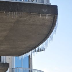 Icicles on a downtown building on Saturday morning.