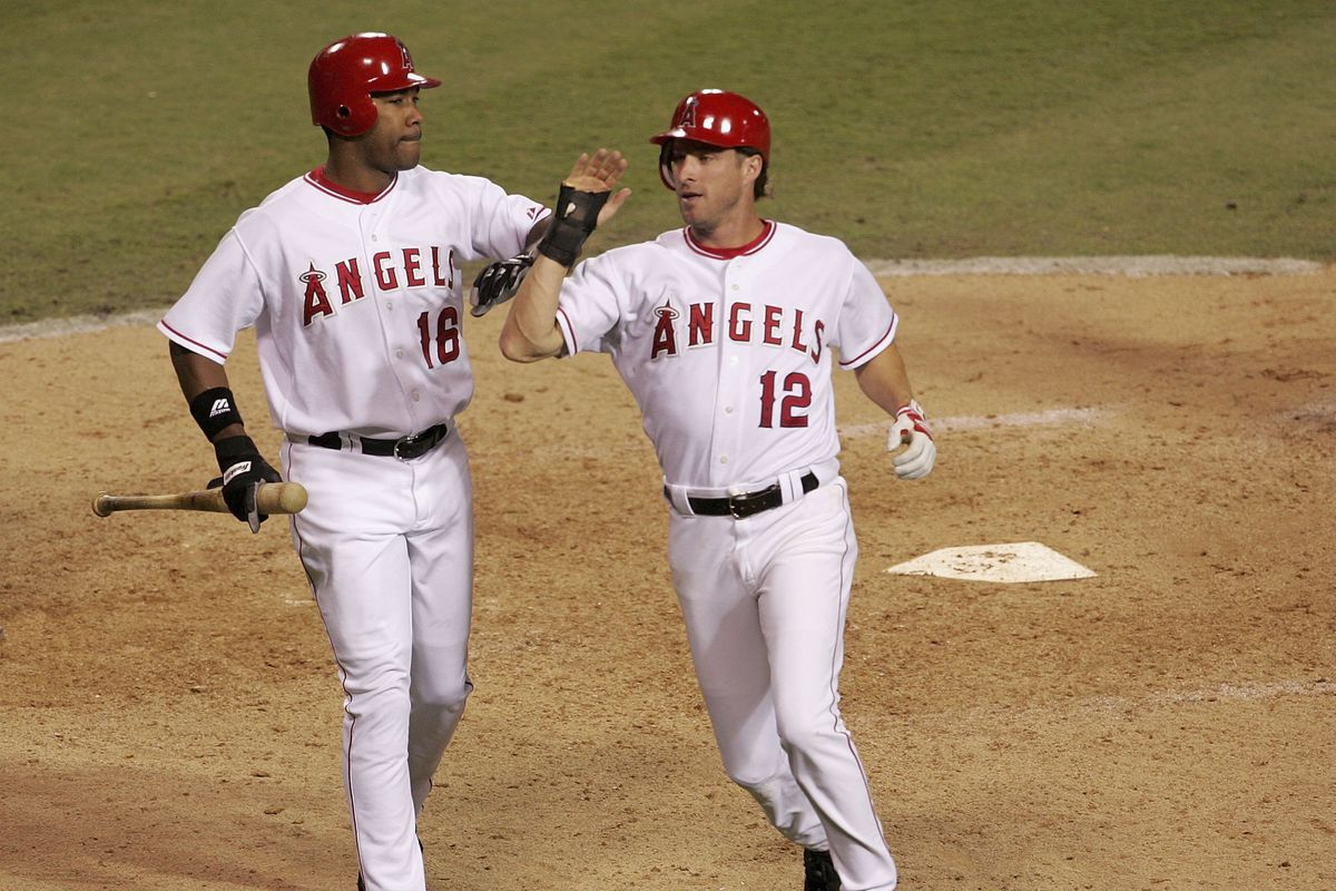 this day in angels post season history mike witt and garret photo by stephen dunn getty images