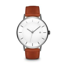 """Linjer <a href=""""https://www.linjer.co/collections/men-classic-watches/products/mens-the-classic-gunmetal-tan?variant=31090460621"""">Classic Watch</a>, $249"""
