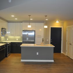 A kitchen in a unit on the 18th floor.