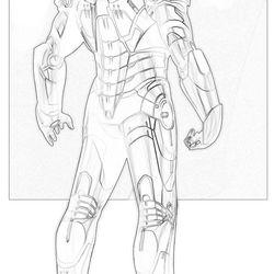PHIL SAUNDERS Iron Man Mark III / War Machine / Concept art for Iron Man 2008 © 2017 MARVEL<br><br><br><br>