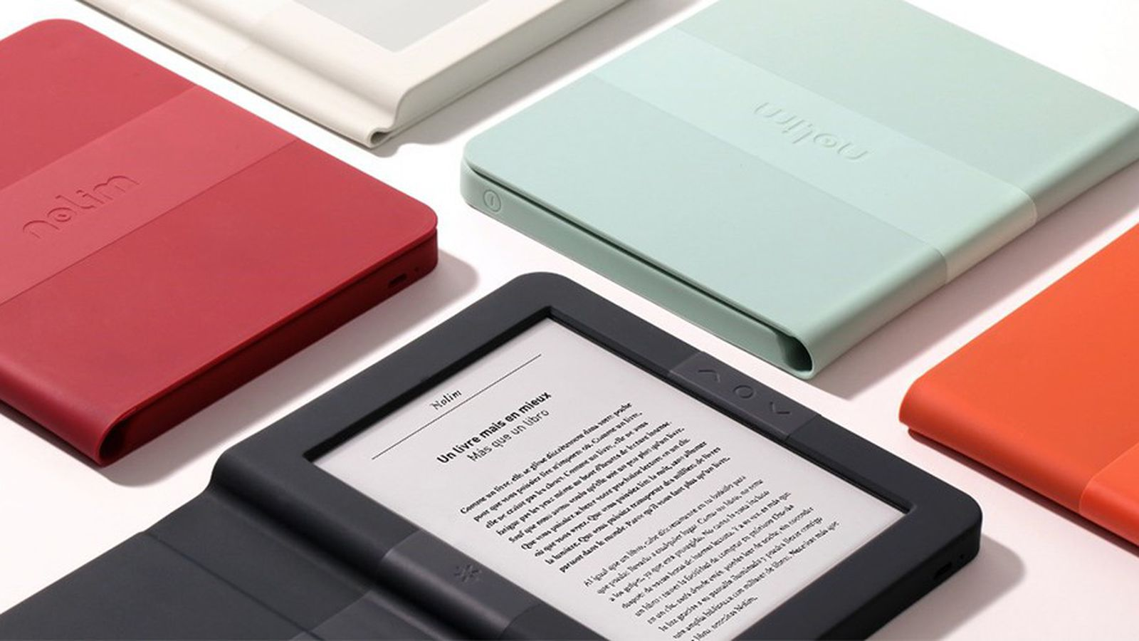 photo image Here's a French e-reader with colorful smart cases and a square shape