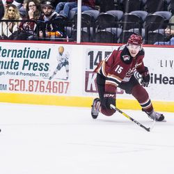 Dauphin lunges towards a puck in open ice