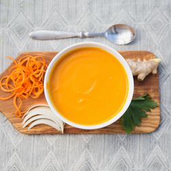 Carrot and ginger soup from Max Well