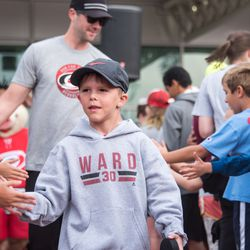 Celebrity guest Nolan Ward (with dad in tow). September 10, 2017. Canes 5k benefitting the Carolina Hurricanes Kids 'N Community Foundation, PNC Arena, Raleigh, NC