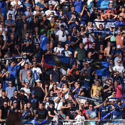 Fans of Internazionale show their support during the Serie A match between FC Crotone and FC Internazionale at Stadio Comunale Ezio Scida on September 16, 2017 in Crotone, Italy.