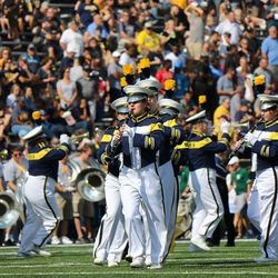 The Toledo band at halftime.<br>