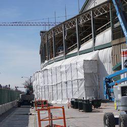 Exterior scaffolding along Addison Street