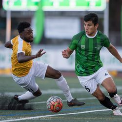 Cal alum and Quakes signing Nick Lima in action for the Burlingame Dragons.
