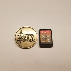 We picked up this commemorative coin at an event last June. It's roughly the same height as the <em>Breath of the Wild</em>'s cartridge, which is pretty cute.