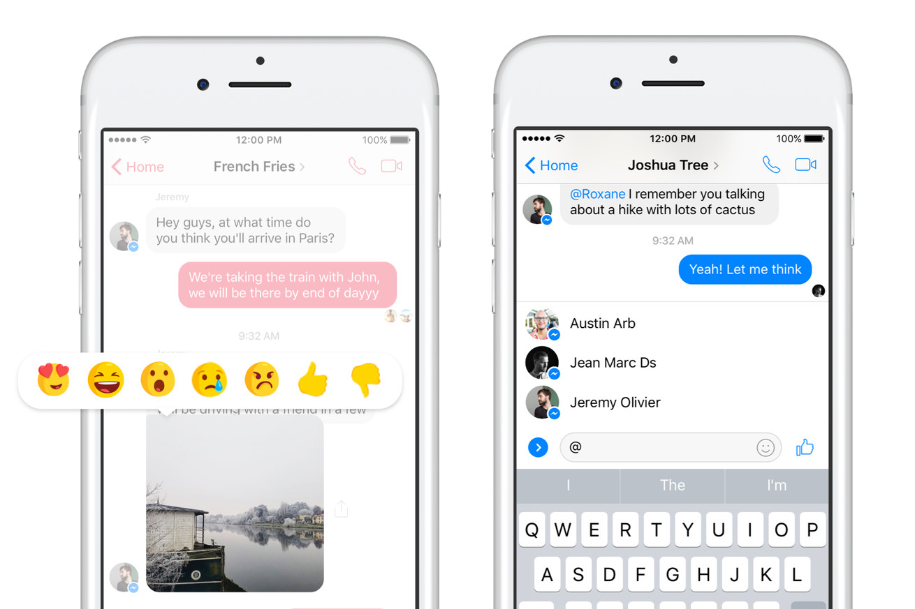 facebook messenger gets reactions for individual messages and notifications