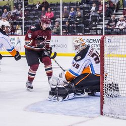 Dauphin tries for a deflection in front of the Gulls' netminder