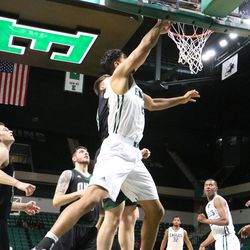 Nick Madray going for the layup.<br>
