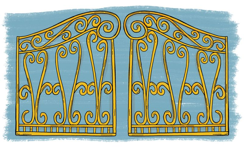 An illustration of gold gates.