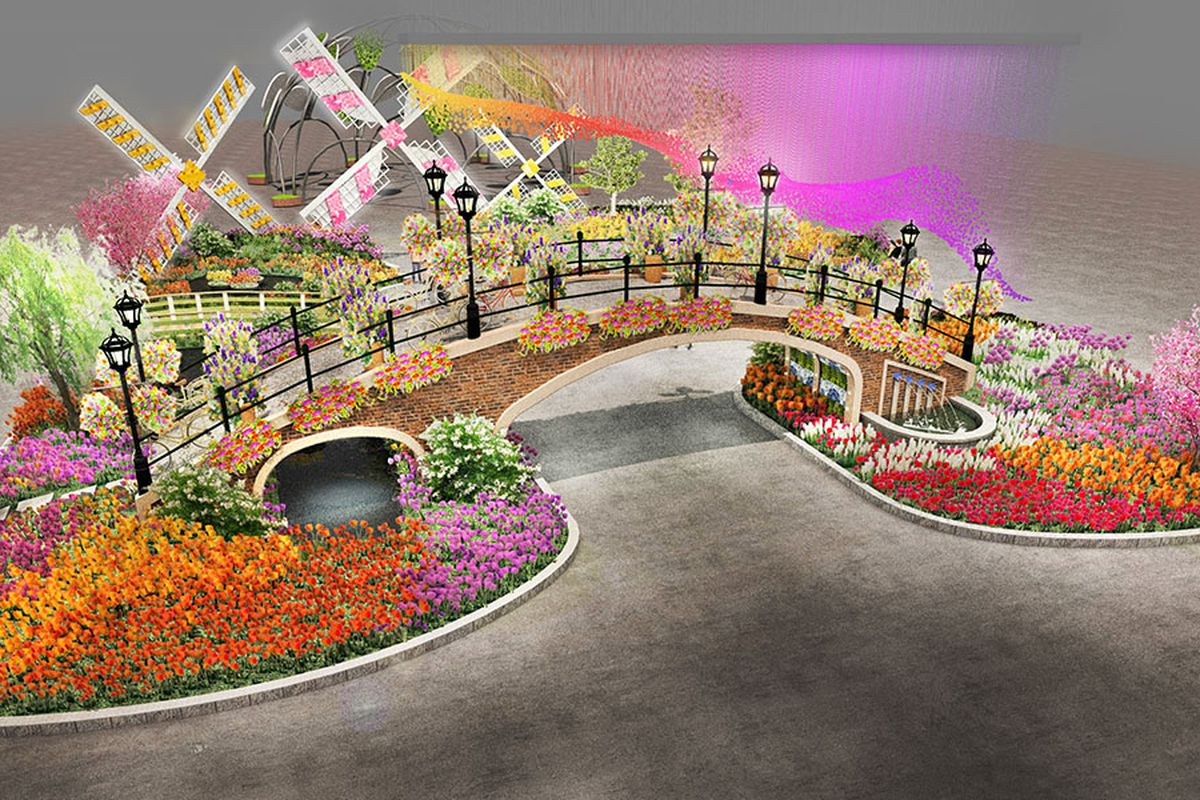 Renderings of the 2017 Philadelphia Flower Show Entrance Garden revealed Cu