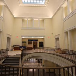 The second level of the museum features the U-shaped permanent exhibits off the large atrium.
