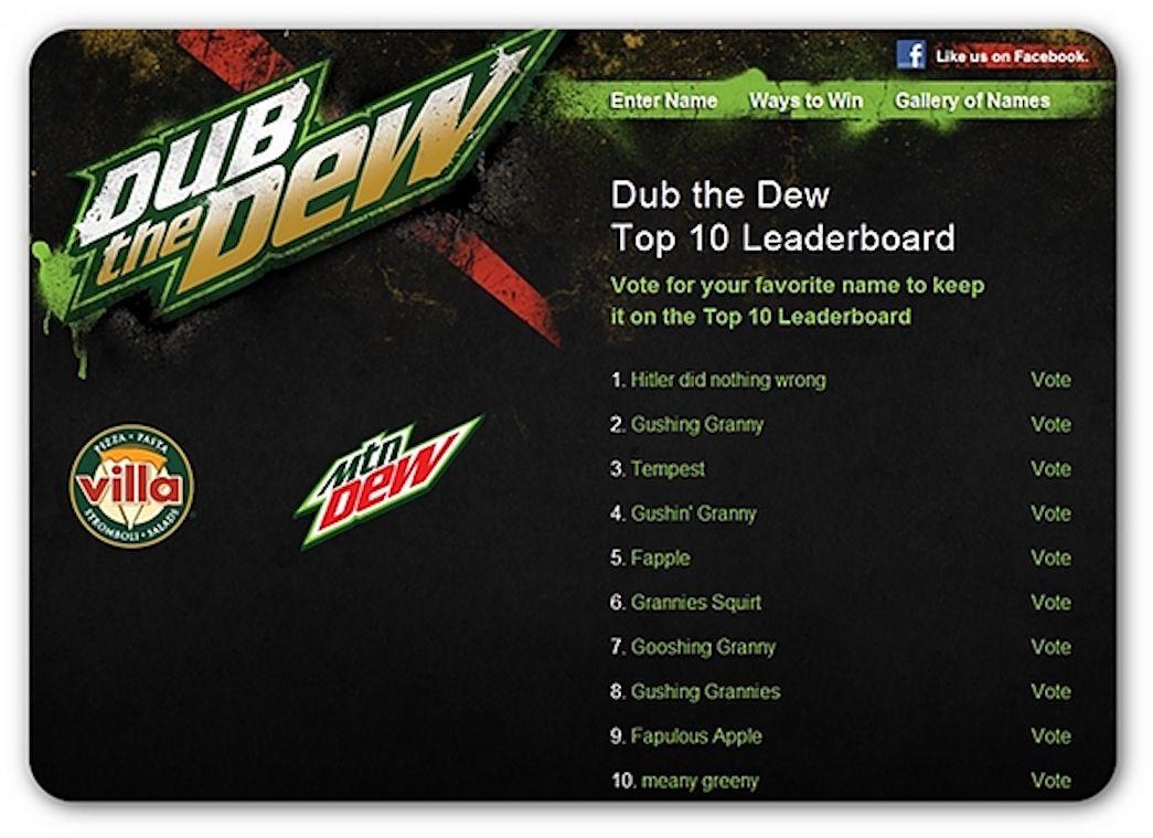 Mountain Dew naming contest