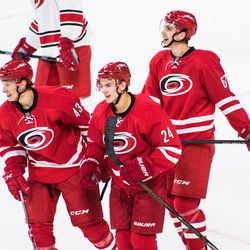 Jake Bean celebrates his goal with Eetu Luostarinen and Luke Stevens. July 1, 2017. Carolina Hurricanes Summerfest and Development Camp, PNC Arena, Raleigh, NC. Copyright © 2017 Jamie Kellner. All Rights Reserved.