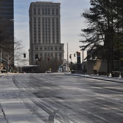 East Paces Ferry near the Lenox MARTA Station was a sheet of ice.