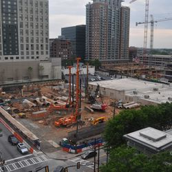 """The hole where <a href=""""http://atlanta.curbed.com/2016/12/19/14003684/midtown-apartments-alexan-880-demolition"""">Alexan 880</a> will rise, seen from the amenity deck."""