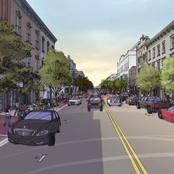 """On Broughton Street, the """"historic"""" option would provide wider sidewalks and street trees."""