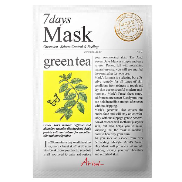 A Green Tea mask sheet in its packaging