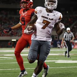 """The Sun Devils donned these """"Desert Ice"""" Adidas alternates in the Territorial Cup for the first time this year."""