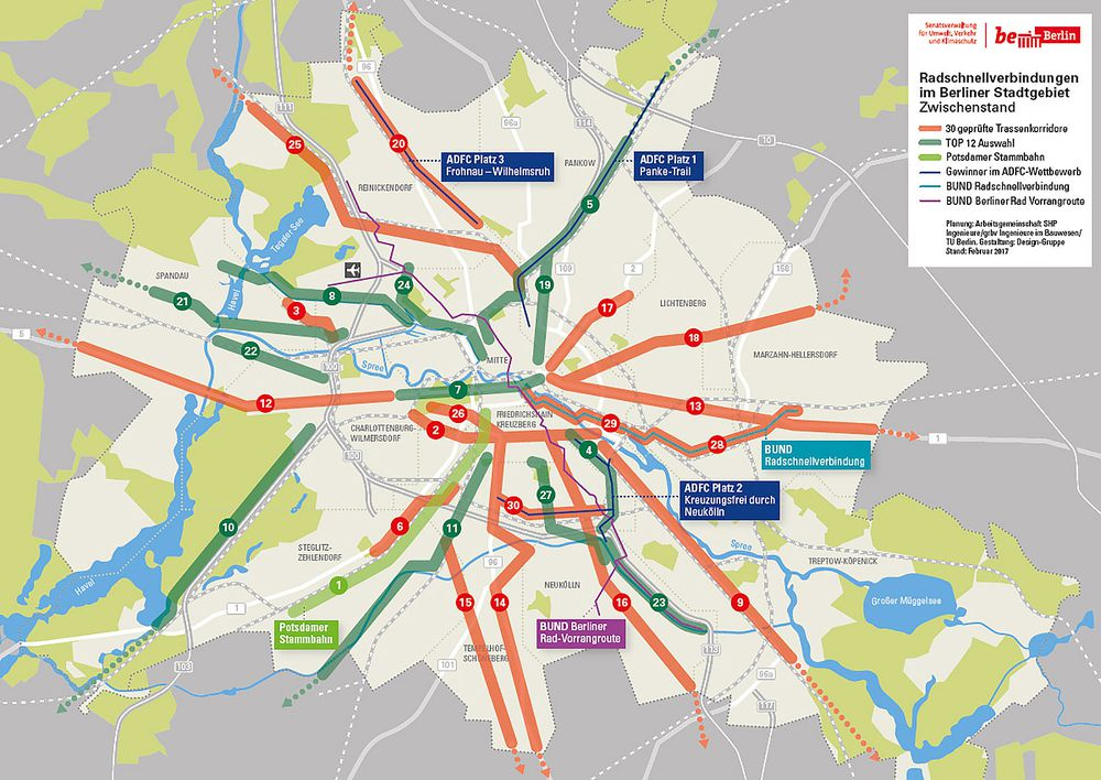 Berlin plan with bike highways