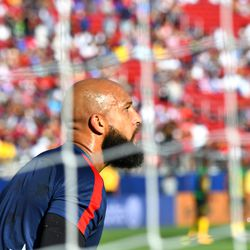 Tim Howard has his game face on.