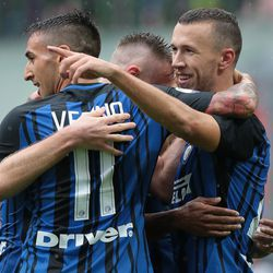 Ivan Perisic of FC Internazionale Milano (R) celebrates his goal with his team-mates during the Serie A match between FC Internazionale and Spal at Stadio Giuseppe Meazza on September 10, 2017 in Milan, Italy.